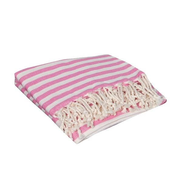 Różowy ręcznik hammam Akasya Pink, 90x190cm