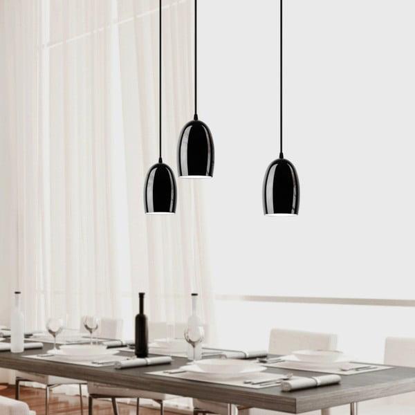Czarna matowa potrójna lampa wisząca Sotto Luce Ume