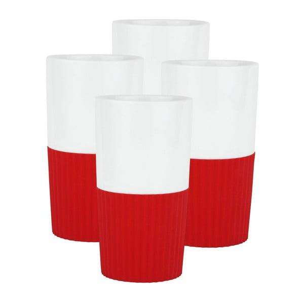 Komplet 4 porcelanowych kubków Confetti Red