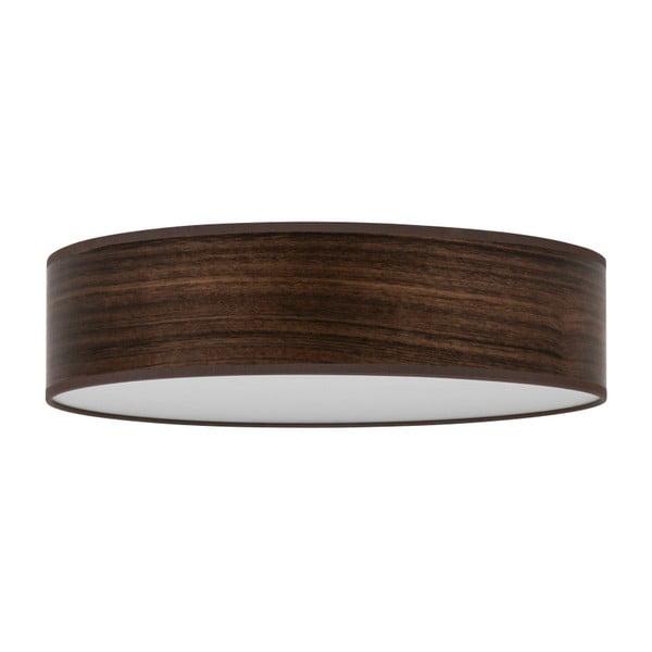 Ciemnobrązowa lampa sufitowa z abażurem z naturalnego forniru Bulb Attack Ocho Clear, ⌀ 40 cm