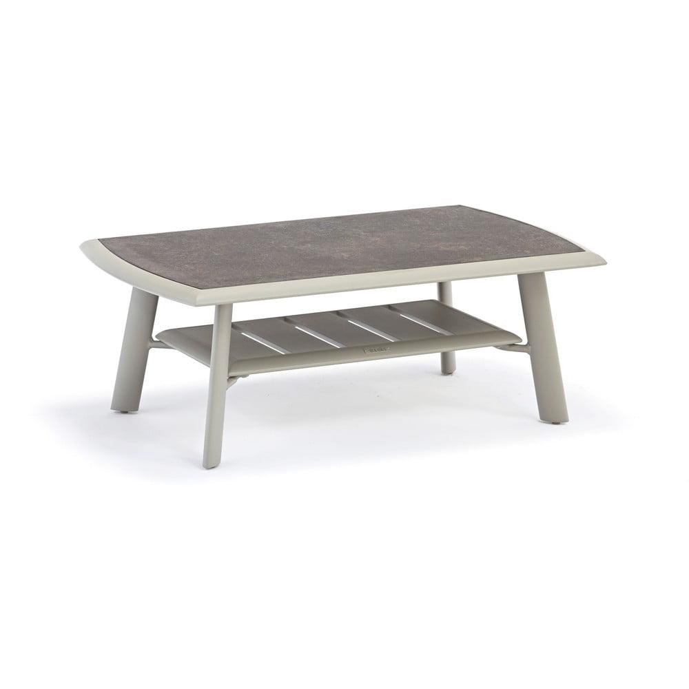 Szary aluminiowy stolik ogrodowy z blatem HPL Ezeis Spring