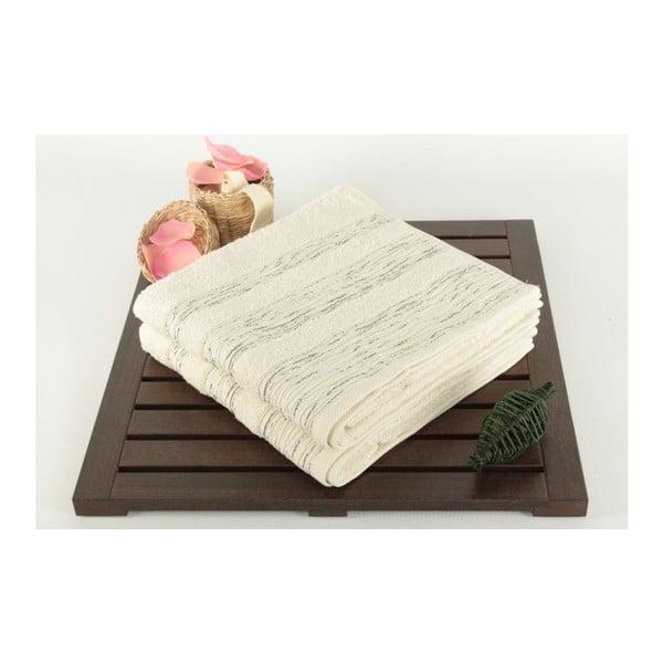 Zestaw 2 ręczników Cizgili Cream, 50x90 cm