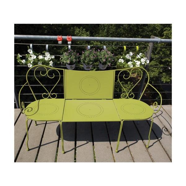 Ławka ze składanym stolikiem na balkon Nature, kolor zielony