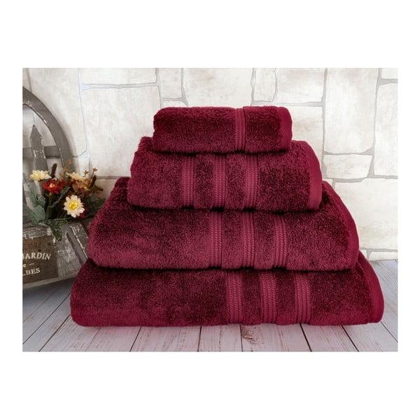 Ciemnoczerwony ręcznik kąpielowy z czesanej bawełny Irya Home Classic, 70x130 cm