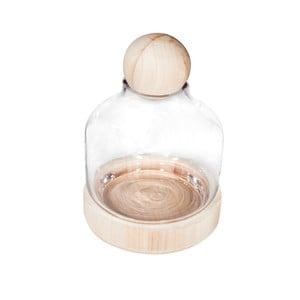 Mała tacka bambusowa z małym kloszem ze szkła Bambum, ⌀18cm