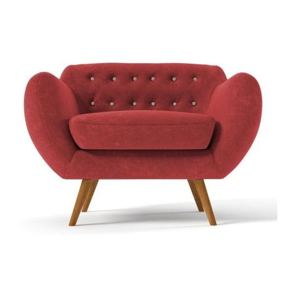 Czerwony   fotel z beżowymi guzikami Wintech Indigo