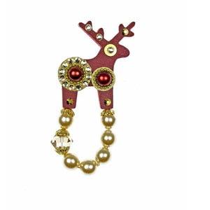 Czerwona małą broszka Deers Bisoni