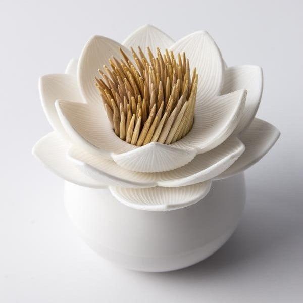 Pojemnik na wykałaczki QUALY Lotus Toothpick, biały