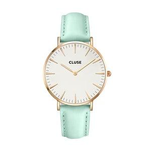 Zegarek damski z miętowym skórzanym paskiem i detalami w kolorze różowego złota Cluse La Bohéme