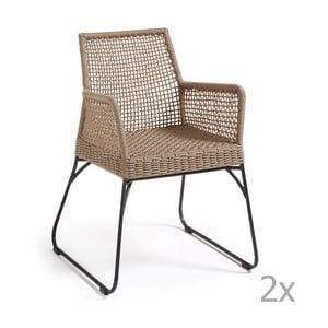 Zestaw 2 brązowych krzeseł La Forma Novak