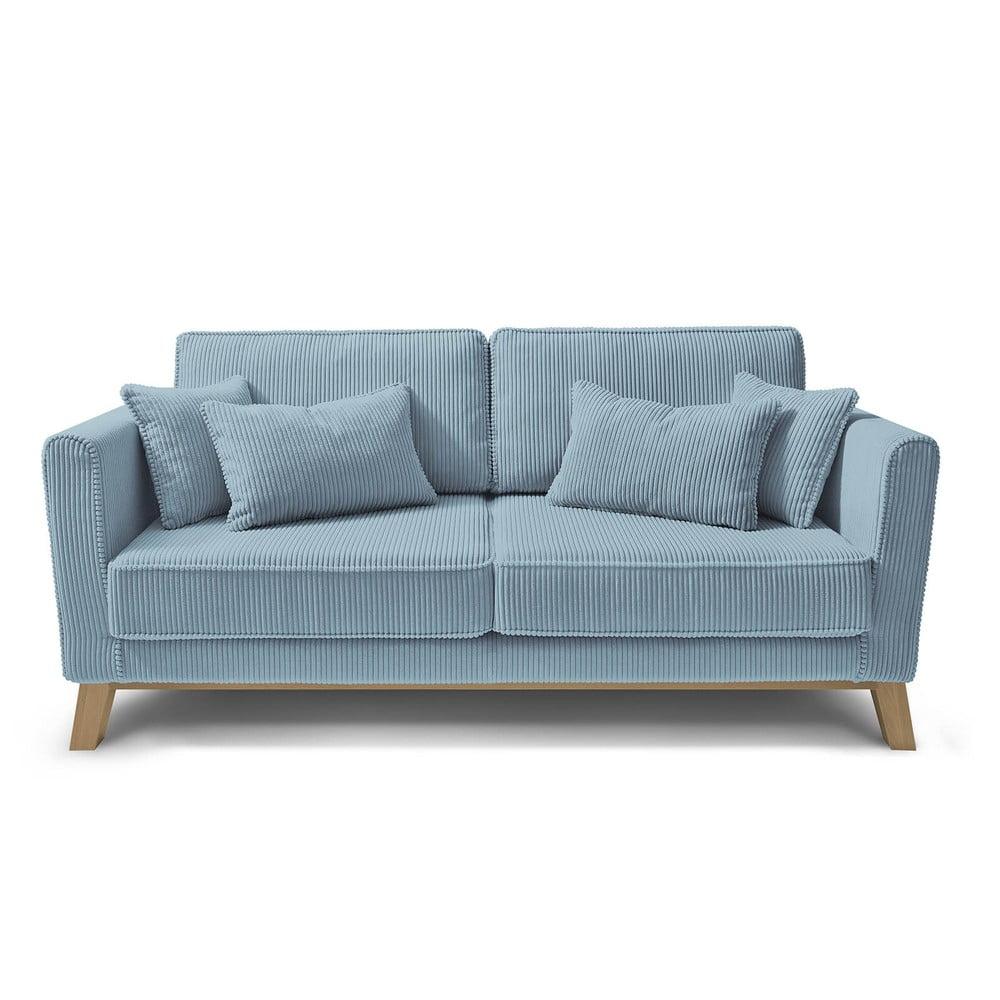 Jasnoniebieska sztruksowa sofa Bobochic Paris Doblo