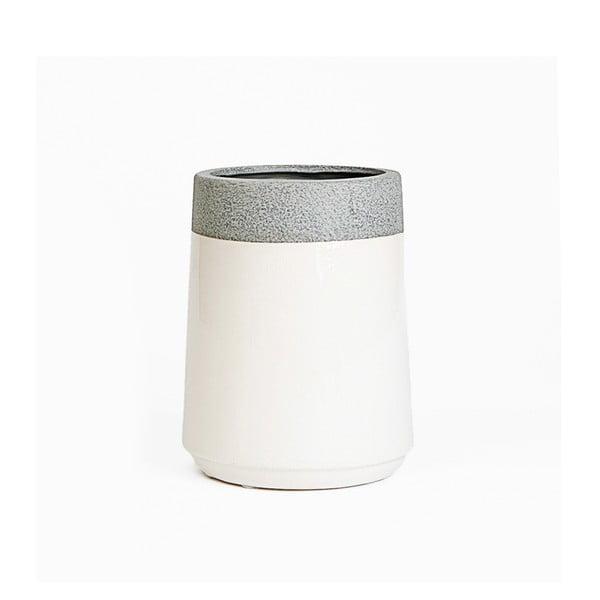 Ceramiczna osłona na doniczkę Jungle Krem, 15x11 cm