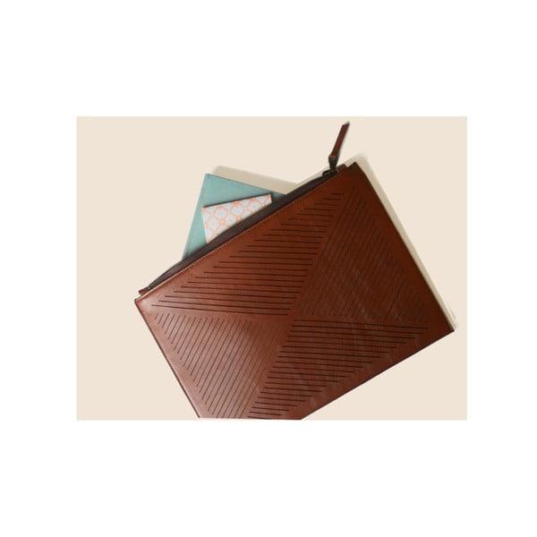 Skórzana torebka na ramię/kopertówka Cut Out, brązowa