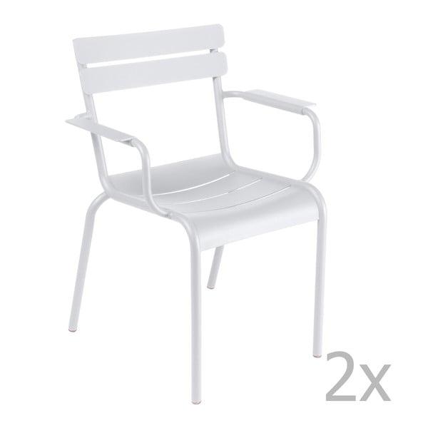 Zestaw 2 białych krzeseł z podłokietnikami Fermob Luxembourg