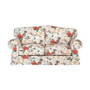 Czerwono-biała sofa trzyosobowa w kwiaty Max Winzer Mina
