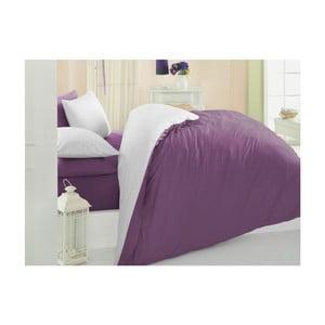 Fioletowo-biała bawełniana pościel z prześcieradłem na łóżko Precioso,200x220cm
