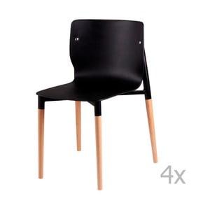 Zestaw 4 czarnych krzeseł z drewnianymi nogami sømcasa Alisia