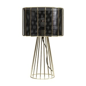 Czarno-złota lampa stołowa Kare Design Wire