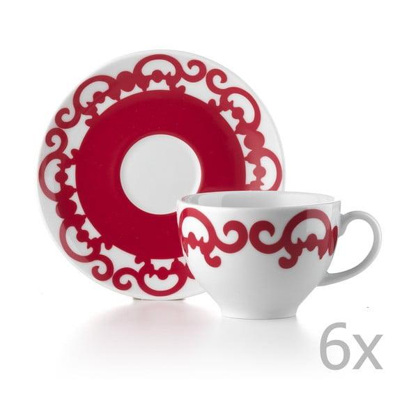 Zestaw 6 filiżanek z podstawką Arabesco Red