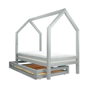 Komplet jasnoszarej szuflady i 4 wydłużonych nóg do łóżka Benlemi Funny, 120x200cm