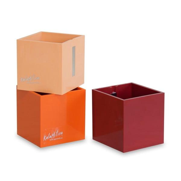 Zestaw 3 magnetycznych doniczek Cube Orange, średni