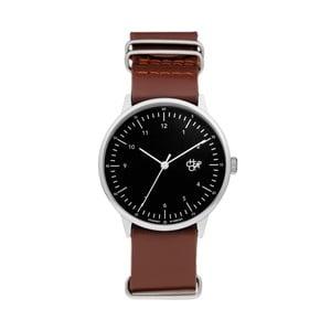 Zegarek z brązowym paskiem i czarnym cyferblatem CHPO Harold