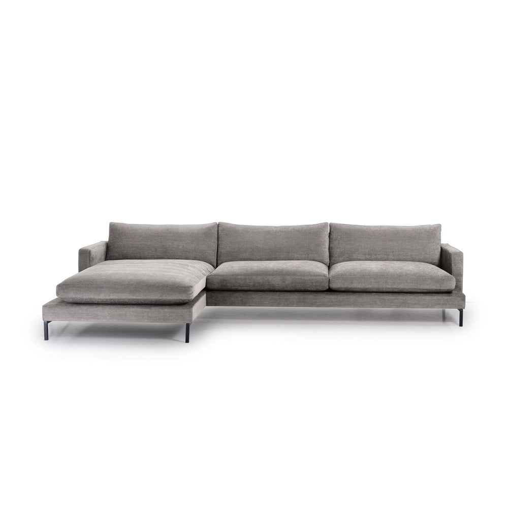 Szara sofa 3-osobowa z lewostronnym szezlongiem Scandic Leken