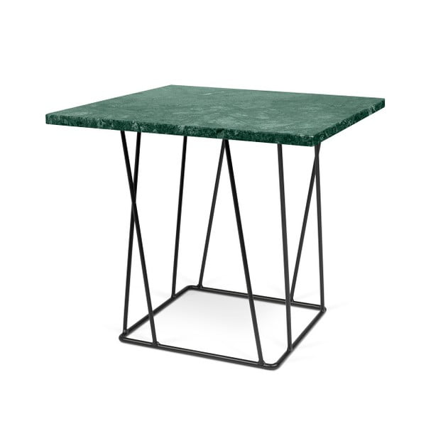 Zielony stolik marmurowy z czarnymi nogami TemaHome Helix, 50 cm