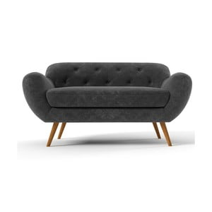 Ciemnoszara   sofa dwuosobowa Wintech Zefir
