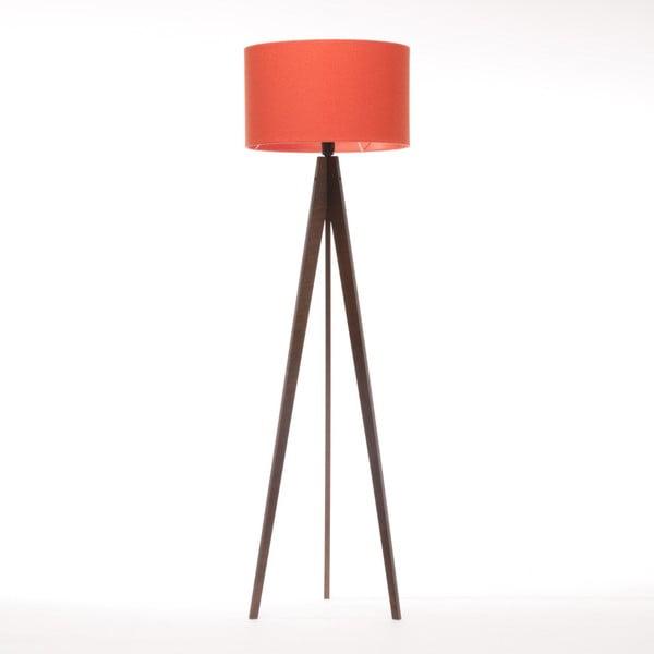 Czerwona lampa stojąca Artist, brązowa lakierowana brzoza, 150 cm