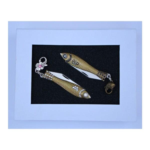 Komplet 2 scyzoryków rybka w opakowaniu podarunkowym, białe i ciemne kryształki