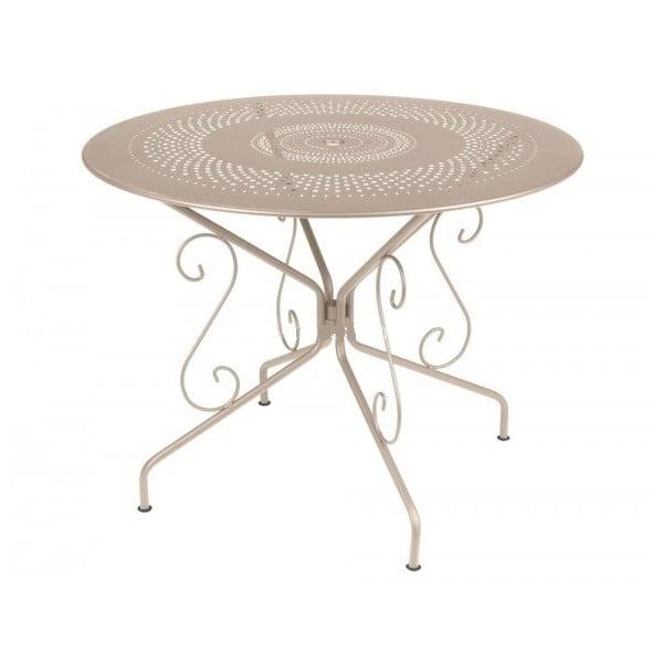 Jasnobeżowy stół metalowy Fermob Montmartre, Ø 96 cm