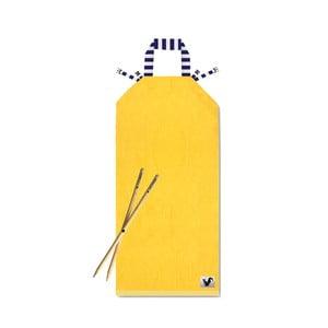 Żółty leżak plażowy Origama Blue Stripes