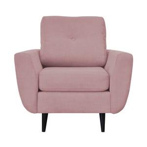 Różowy fotel z ciemnymi nogami Mazzini Sofas Cedar