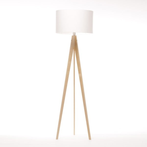 Biała lampa stojąca Artist, brzoza, 150 cm