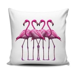 Różowo-biała poduszka Home de Bleu Pink Flamingo Friends, 43x43cm