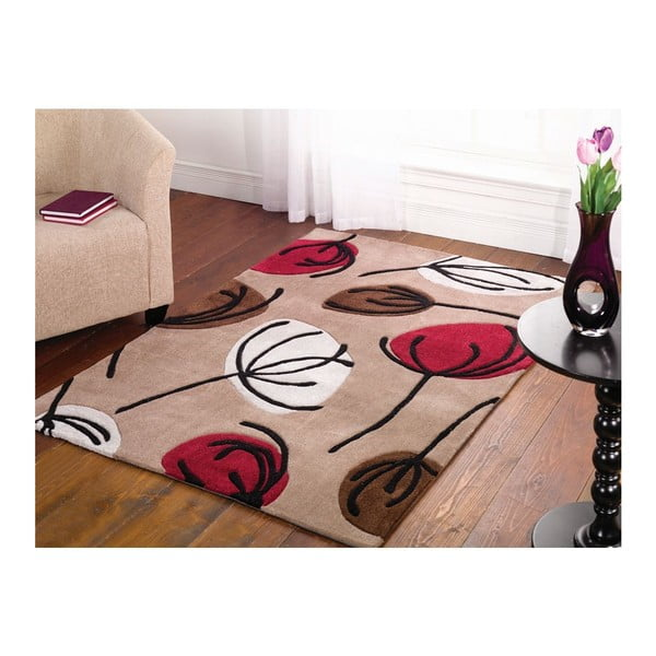 Dywan Fifties Floral Choc Red, 220x160 cm