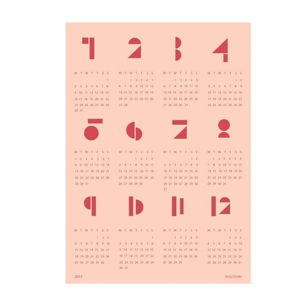 Różowy kalendarz ścienny SNUG.Toy Blocks 2017