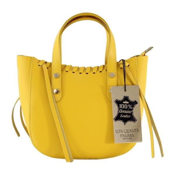 Żółta skórzana torebka Anna