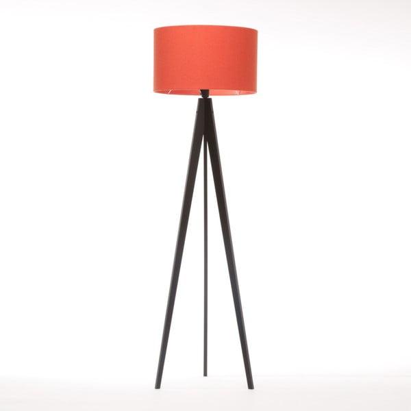 Czerwona lampa stojąca Artist, czarna lakierowana brzoza, 150 cm