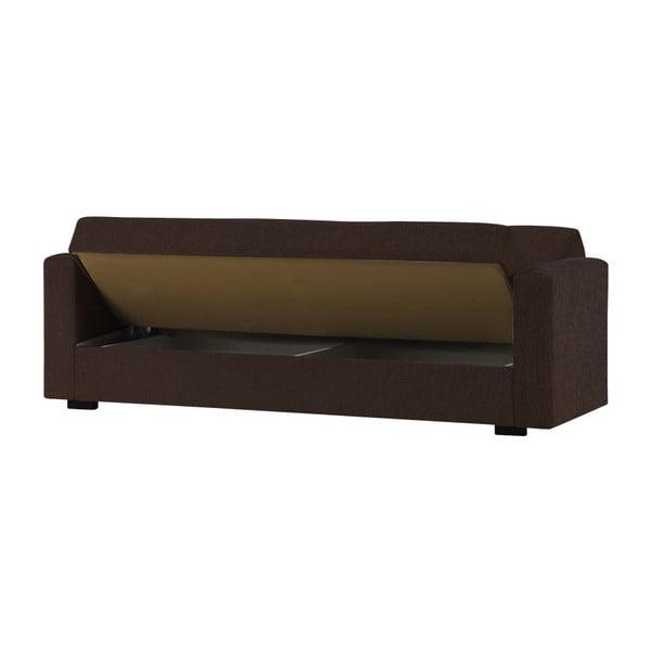 Ciemnobrązowa dwuosobowa sofa rozkładana ze schowkiem Esidra Relax