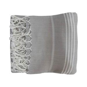 Szary ręcznie tkany ręcznik z bawełny premium Sultan,100x180 cm