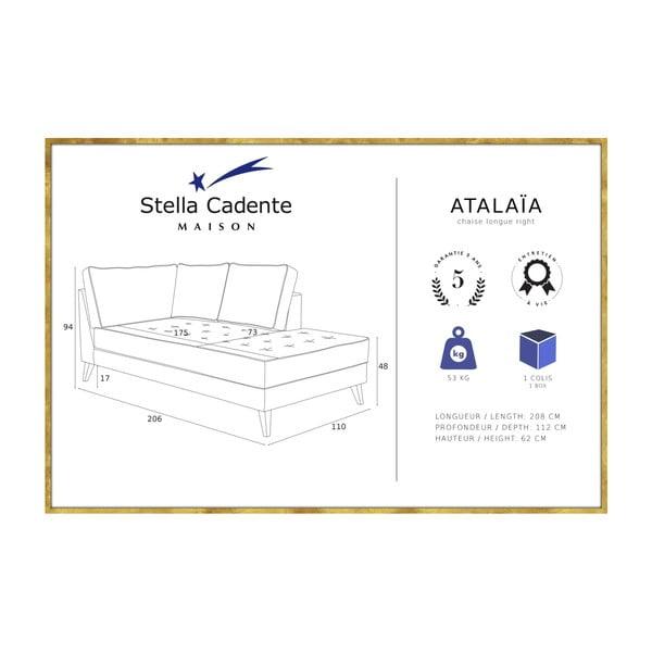 Antracytowy szezlong z czarną lamówką Stella Cadente Maison Atalaia, lewostronny