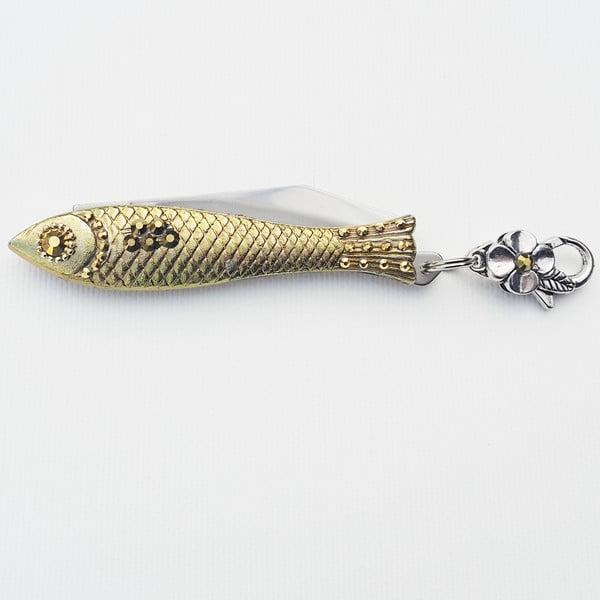 Scyzoryk rybka, złoty, w blaszanym pudełku