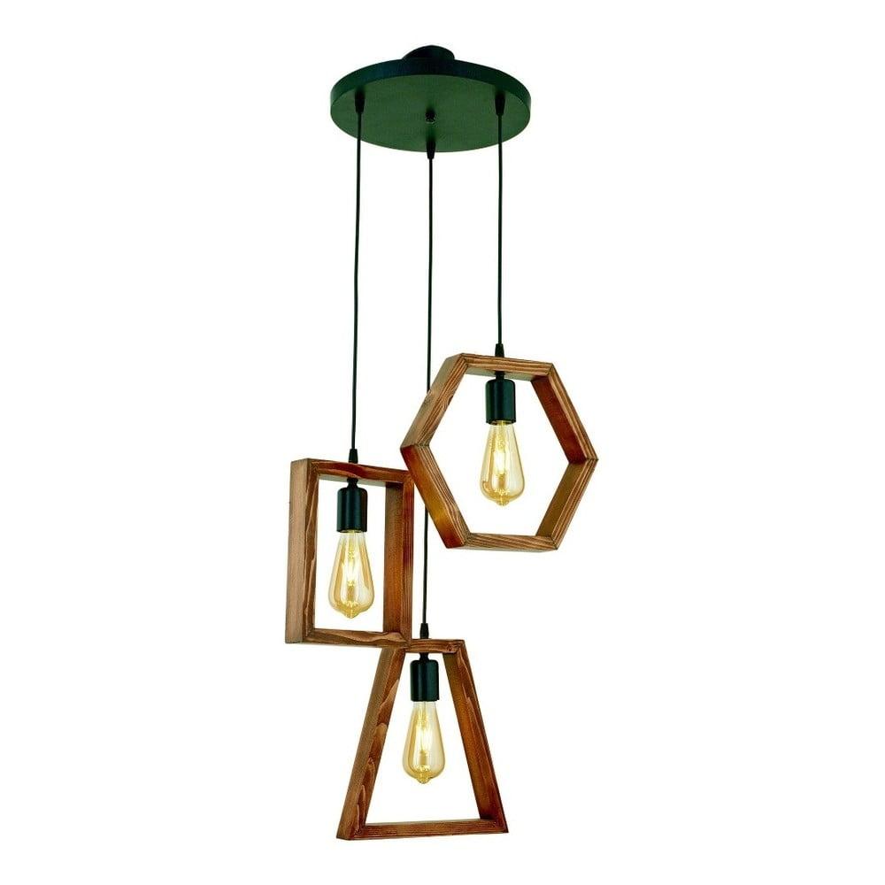 Lampa wisząca z drewna grabu Simetri