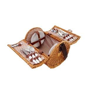 Wiklinowy kosz piknikowy z zestawem dla 4 osób Mendler Shabby Wicker
