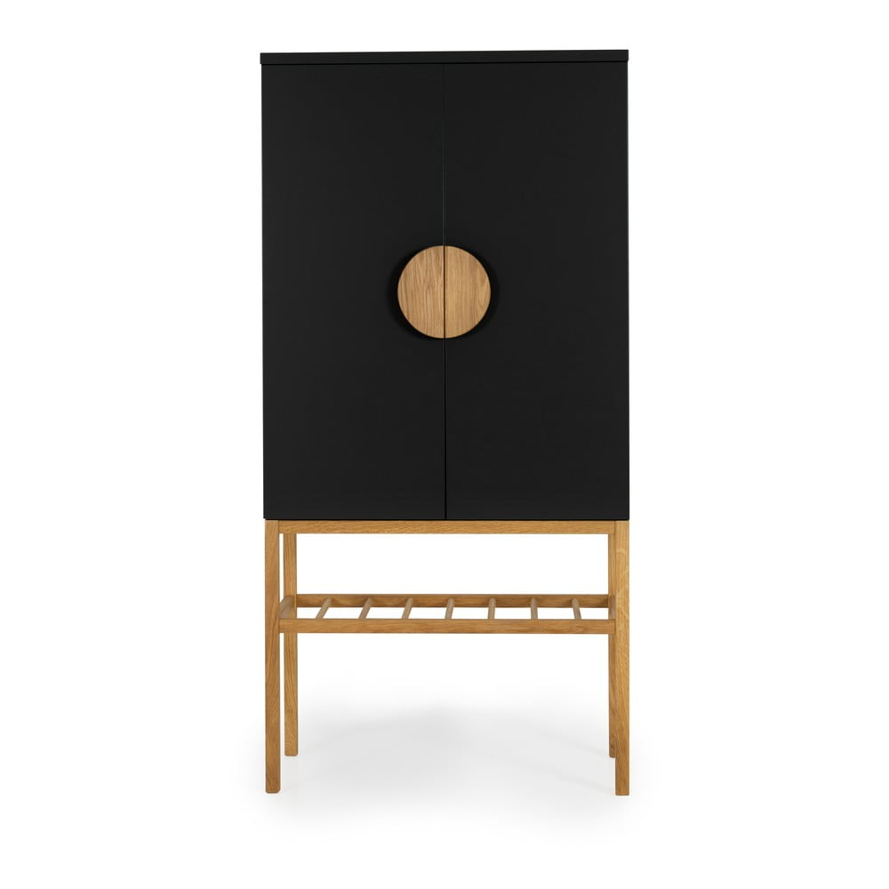 Czarna komoda z nogami z drewna dębowego Tento Scoop, wys. 162 cm