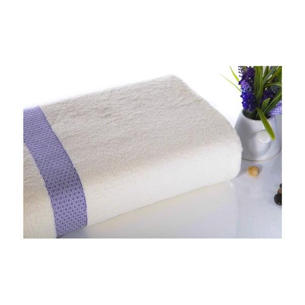 Fioletowo-biały ręcznik kąpielowy z bawełny Ladik Alice, 70x140 cm