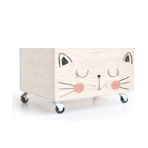 Pojemnik drewniany na kółkach Little Nice Things Cat