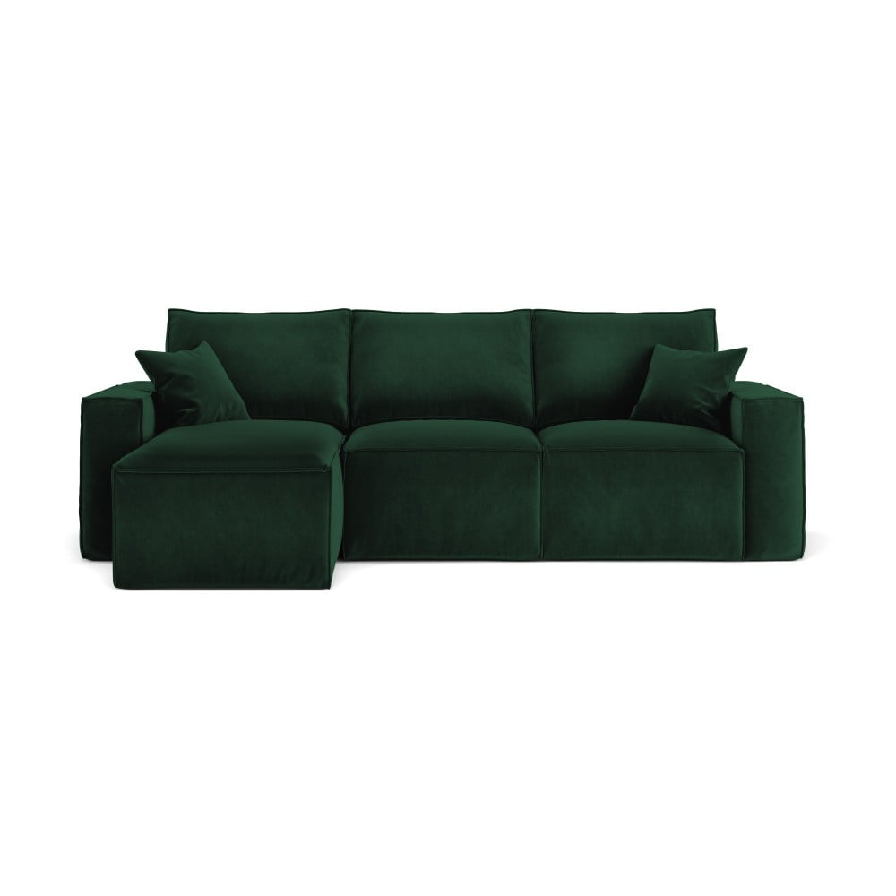 Zielona narożna sofa Cosmopolitan Design Florida, lewostronna